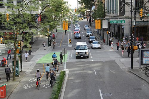 Another view of Dunsmuir bike lanes in Vancouver (Image Credit: Paul Krueger)