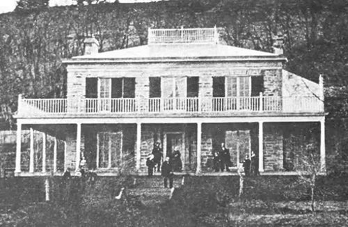 Figure 9: The Durand house, built in 1806 at the base of the escarpment (and close to known quarries below the modern Jolley Cut). It was sold in 1815 to George Hamilton. The dangers of using the primitive roads up the escarpment were graphically described by Charles Durand in his autobiography. At that time, it was hardly possible to bring large loads of stone down from quarries on the Mountain.