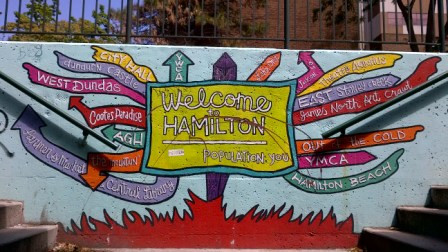 Welcome to Hamilton mural at MacNab underpass