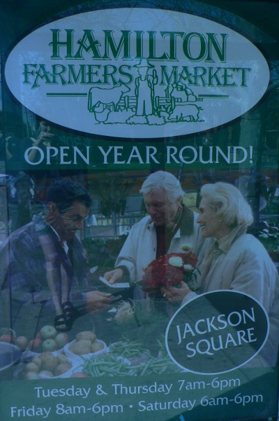 Poster promoting Hamilton Farmers Market