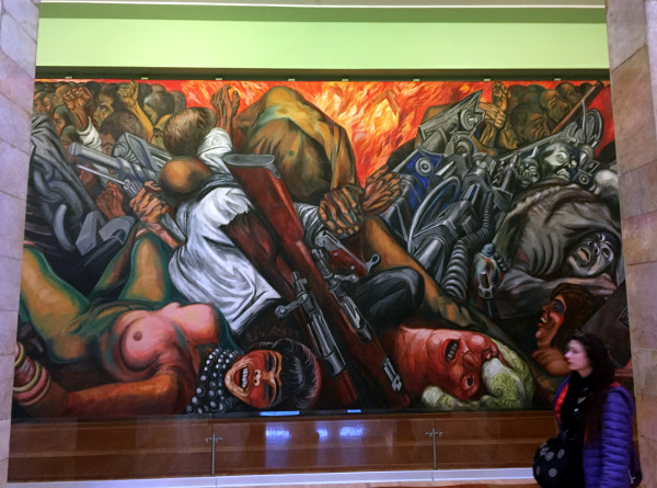José Clemente Orozco, Catharsis, 1934 (with a person walking into my photo, sorry.)