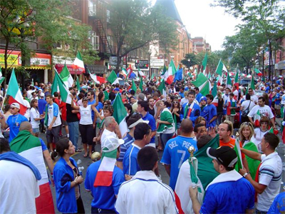 Celebrants thronged the street after Italy won the World Cup