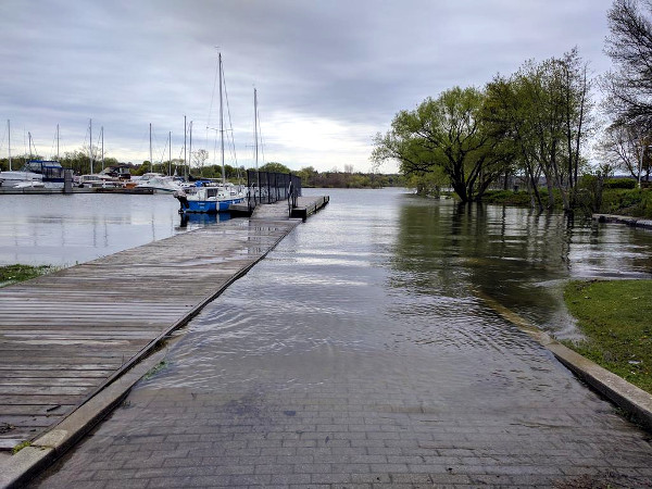 High water level at Pier 4 Park in May, 2017 (RTH file photo)