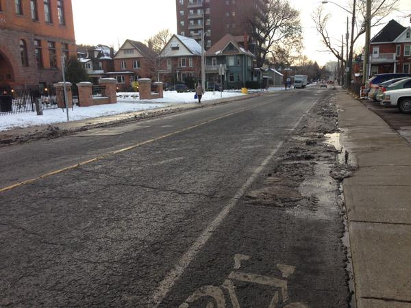 Stinson Street bike lanes were not cleared (Image Credit: Kyle Ford/Twitter)