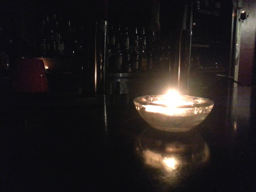 Candles lit the bar at the Baltimore House