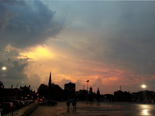 Between storm lashings, the city was treated to a spectacular sunset.