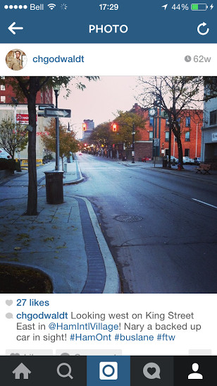 Instagram photo looking up King Street East on Friday, November 8, 2013