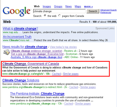 The Government of Canada's Climate Change website is the first result of a Google search. (Source: Google)