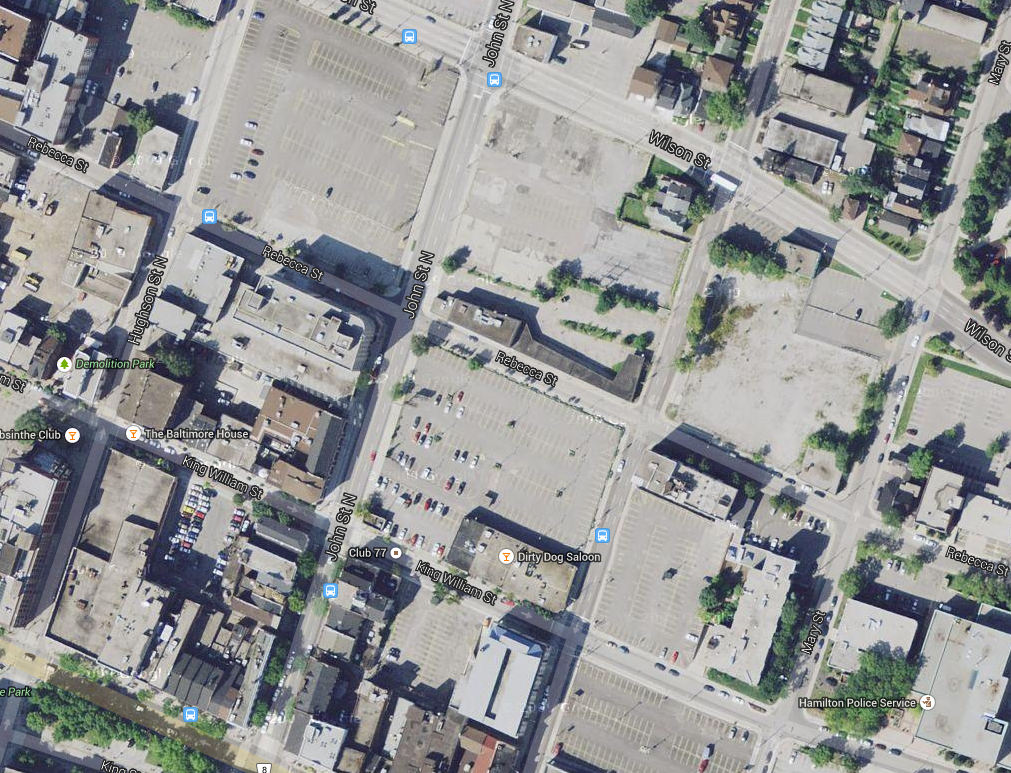 Overhead view of parking in downtown Hamilton (Image Credit: Google Maps)