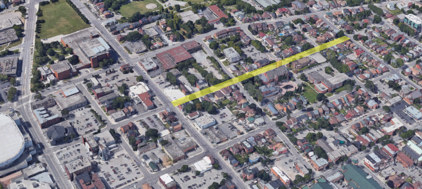 A section of Park Street North (highlighted in yellow) is being converted to two-way today (Image Credit: Google Maps)