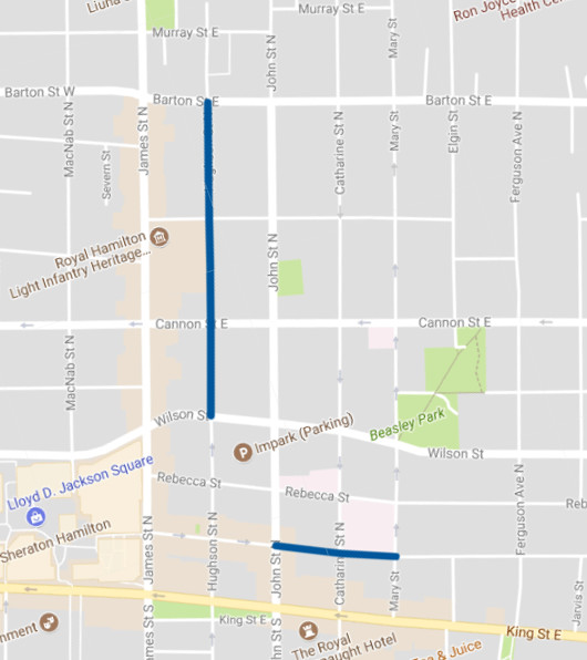 Two-way conversions planned for Hughson Street North and King William Street (Image Credit: Google Maps)