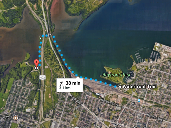 Map: Waterfront Trail between Princess Point and Bayfront Park (Image Credit: Google Maps)