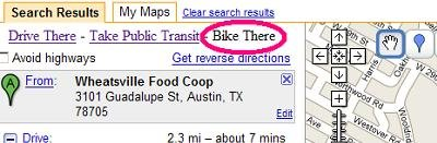 Mockup of a Google Maps 'Bike There' option (Source: Google Maps 'Bike There')