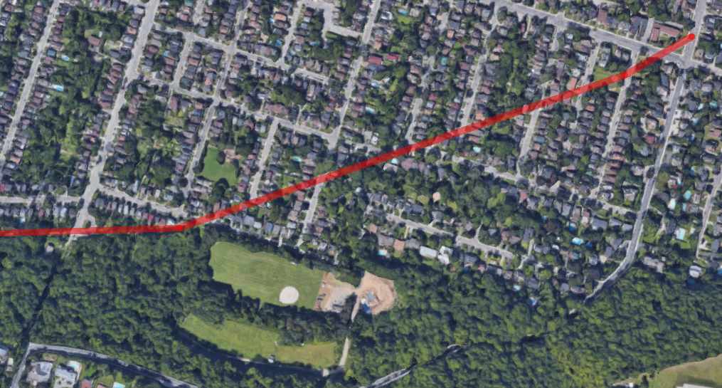 Route of the old Hamilton-Brantford Radial Line through Kirkendall South neighbourhood (Image Credit: Google Maps)