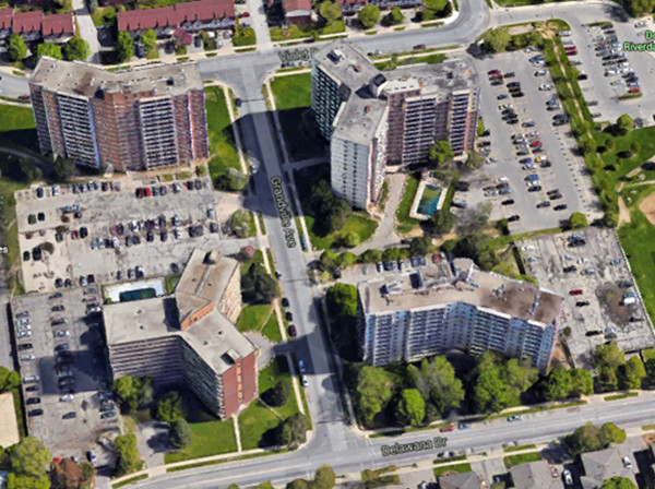 Stoney Creek Towers: 50 Violet, 77 Delawana, 11 and 40 Grandville. (Image Credit: Google Maps)
