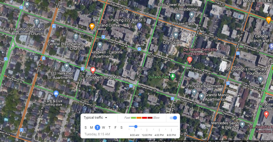 Typical traffic on Herkimer and Charlton on a weekday morning (Image Credit: Google Maps)