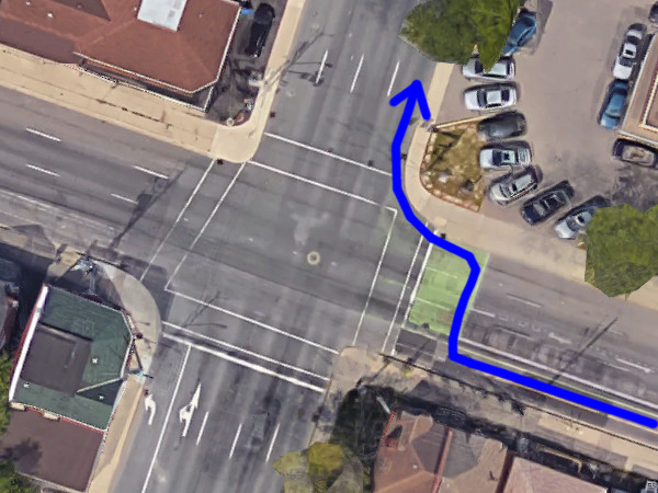 Bicycle right-turn movement from Cannon onto Victoria, using the bike box (Image Credit: Google Maps)