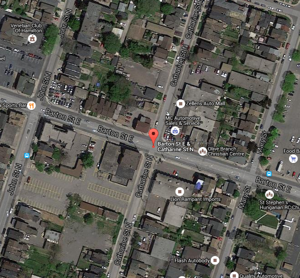 Barton Street East and Catharine Street North (Image Credit: Google Maps)