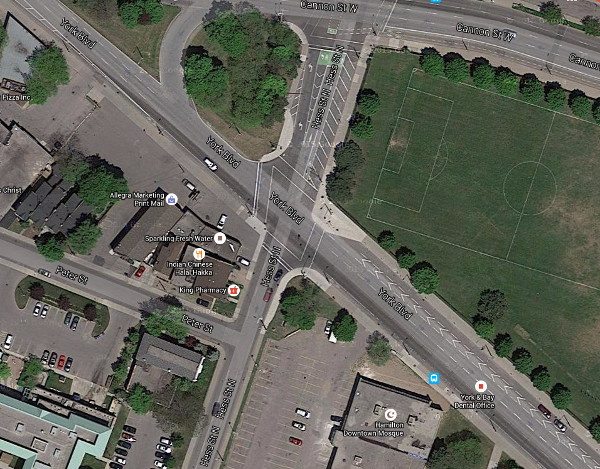 Satellite view: York Boulevard and Hess Street (Image Credit: Google Maps)