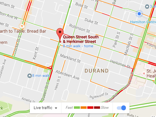 Google Maps Live Traffic for September 9, 2016 at 8:58 AM