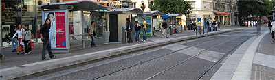 A streetcar station in downtown Grenoble.