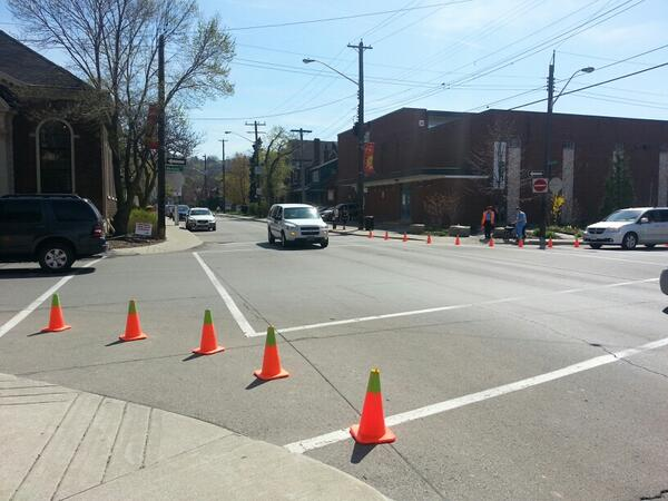 Guerrilla bumpouts at Herkimer and Locke, removed by City workers (RTH file photo)