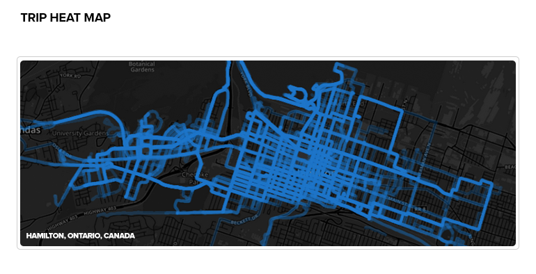 Heat map of Hamilton Bike Share trip from the launch to July 2, 2015