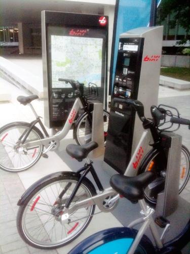 Bixi depot on display at City Hall