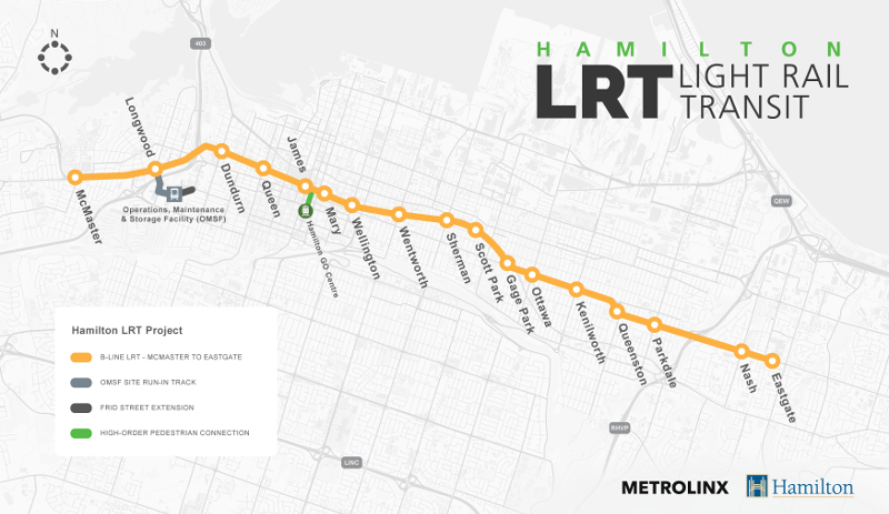 B-Line LRT route from McMaster University to Eastgate Square with higher-order pedestrian connection to Hunter GO Station