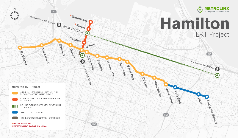 Hamilton LRT Map (Image Credit: Metrolinx)