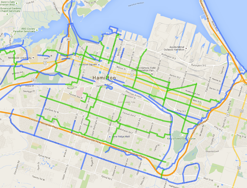 Map of proposed neighbourhood greenways