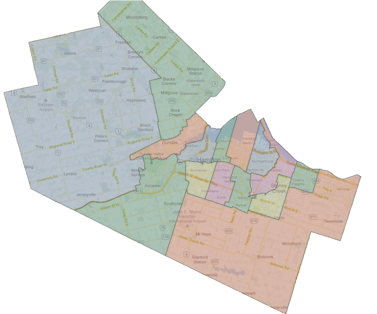 Hamilton's Ward Boundaries (Joey Coleman map overlay on Google Maps background)