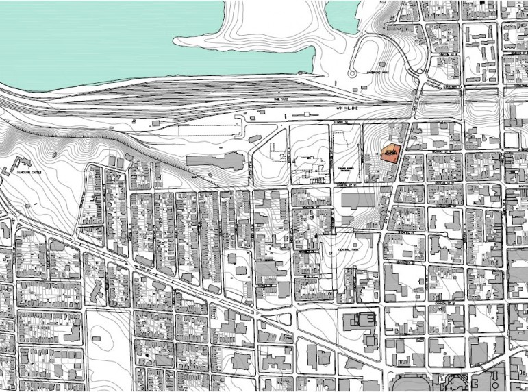 City of Hamilton neighbourhood map with CN Rail Yard