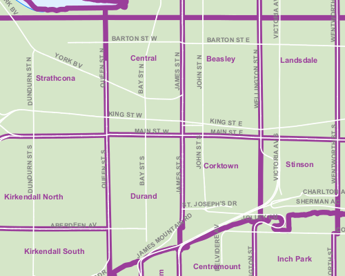 Hamilton neighbourhood map (Image Credit: City of Hamilton [PDF])
