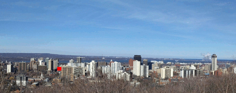 Downtown Hamilton skyline view from Claremont Access, Television City location highlighted in red (RTH file photo)