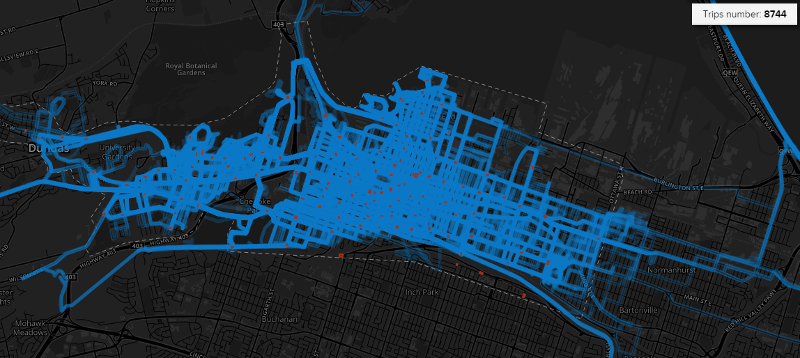 Heatmap of bike share trips between July 18, 2016 and July 24, 2016