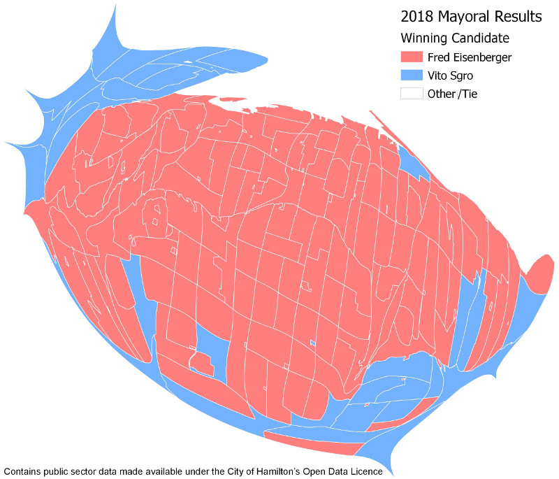 Cartogram of 2018 Mayoral Results by poll (Image Credit: Chris Higgins)