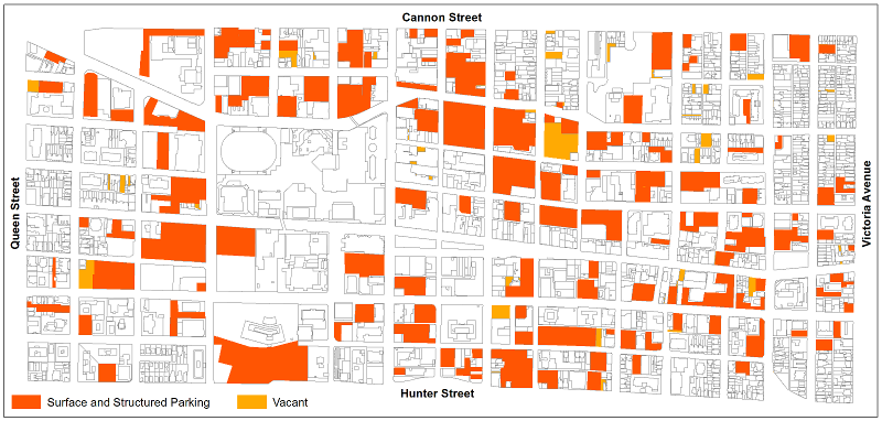 Downtown Hamilton surface parking and vacant lots (Image Credit: Chris Higgins)