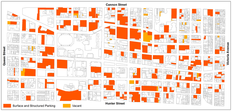 Map: parking in the downtown core
