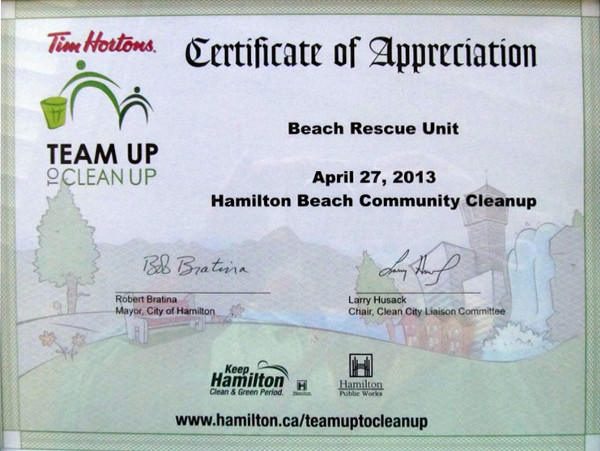 Certificate of Appreciation to the Beach Rescue Unit: a job well done.