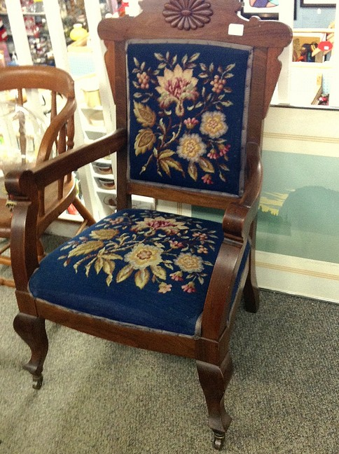 Victorian Arts and Crafts upholstered solid oak chair with lovely hand crafted floral needlepoint. A labour of love. For $75! What a steal!