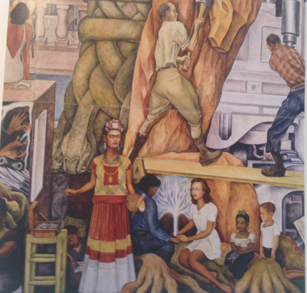 Detail from Rivera's 1940 mural, 'Pan American Unity', showing Frida in native dress. Set of murals located in City College of San Franciso, California.