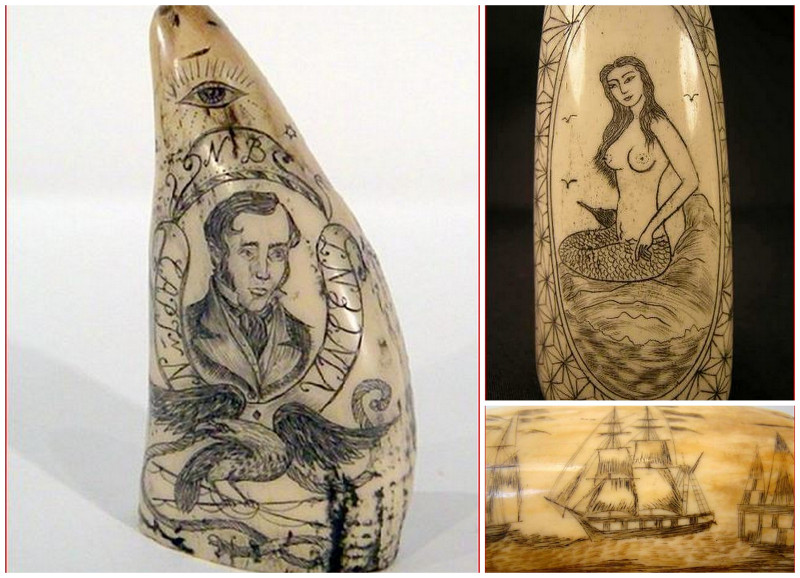Captain, mermaid and ship scrimshaw on whale teeth.