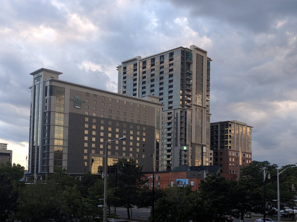 Homewood Suites and 150 Main at dusk (RTH file photo)