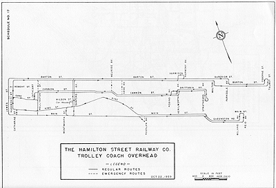 Hamilton's overhead trolley system in 1959 (Photo Credit: <http://ca.geocities.com/hsrtrolleys@rogers.com/Trolleys.html>)