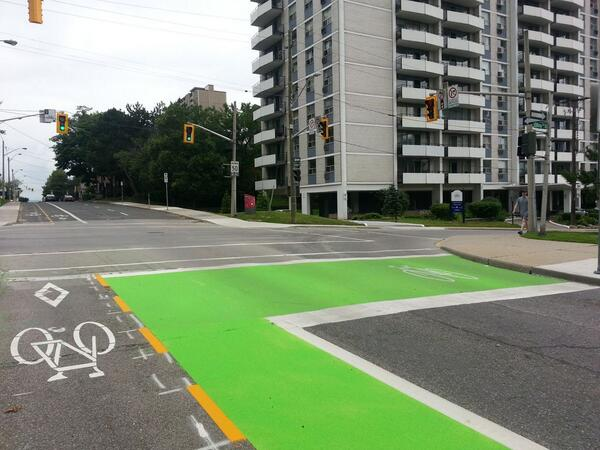 Green painted bike boxes