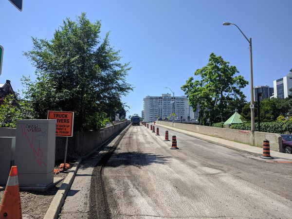 Hunter Street West being resurfaced, July 4, 2018