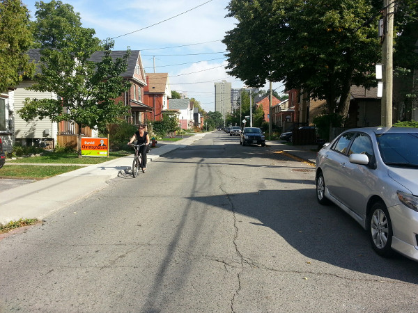 Cyclist on Hunter Street West (RTH file photo)