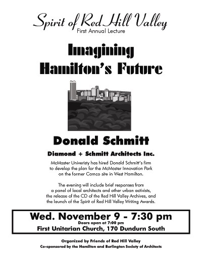 Imagining Hamilton's Future: Spirit of Red Hill Valley Annual Lecture (click on the image to open the PDF poster in a new window)