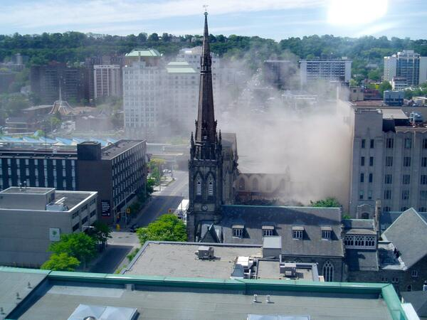 Dust from the James Street Baptist partial demolition, June 6, 2014